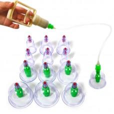 Вакуумные массажные антицеллюлитные банки с насосом 24 штуки YS-0024