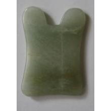 Скребок ГУАША (GUA SHA) нефритовый Ушки зеленый