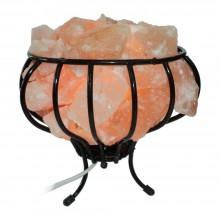Лампа из гималайской соли Ваза с камнями в металлической чаше